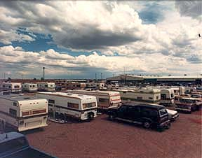 RV's parked at a parking lot