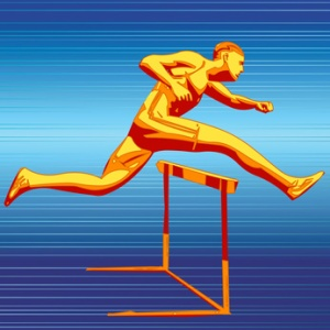 Vector Athlete running and jumping over hurdles