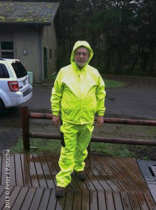 In my rain suit after rompin' around in the rain
