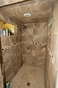 Our 5 foot by 4 foot shower -- with windows!