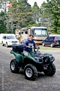 Our former boss Belva on a Quad.