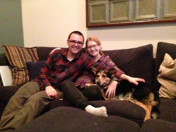 Drew, Melanie, and their new dog Gracie