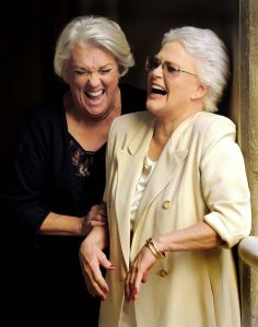 """OCTOBER 26: Tyne Daly and Sharon Gless, co-stars of the television series """"Cagney & Lacey,"""" enjoy themselves as they pose together for a portrait in Los Angeles. (Chris Pizzello/Invision)"""