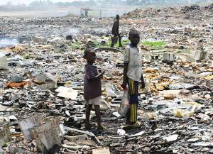 When I saw we are good at making places uninhabitable, we have a terrible habit of shipping our electronic waste to places like Africa where the piles and piles of trash are hidden to our sophisticated Western eyes.