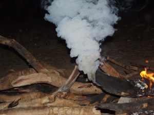 smoking campfire