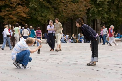 Photos of people taking photos of landmarks