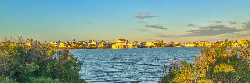 Houses across the bay (still on Galveston Island)