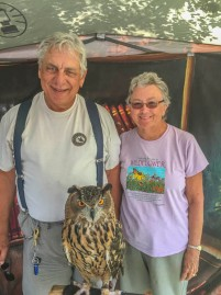 Phoenix the owl. Peg was tickled to be able to pet a live owl! I was too!